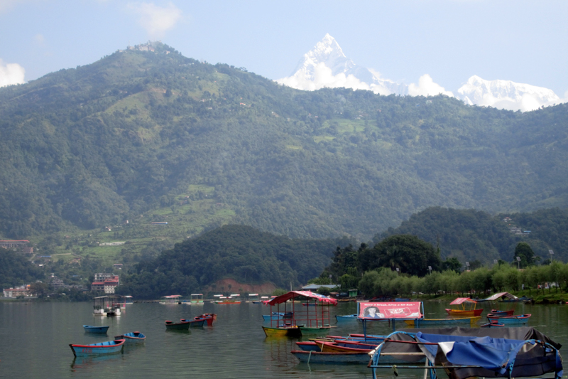 An amazing view Mt Machhapuchre and Sarangkot hill as seen from Lakeside, Pokhara, on Tuesday, September 05, 2017. Photo: Rishi Baral
