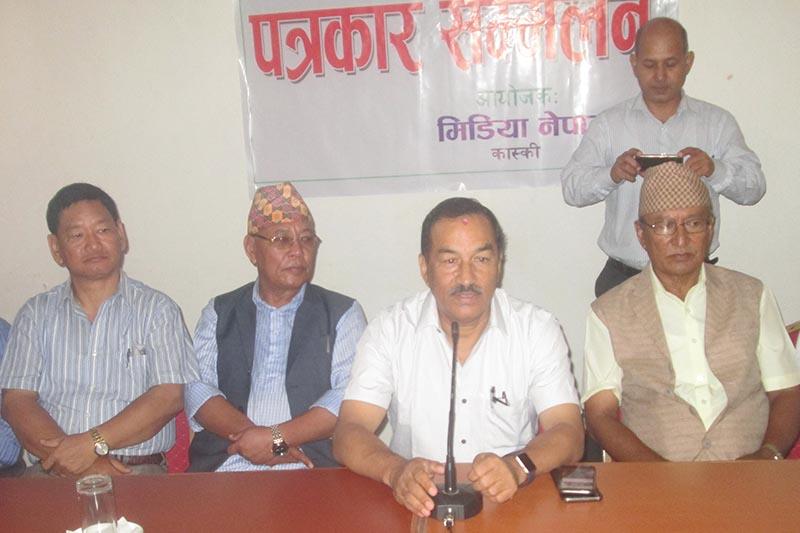 Rastriya Prajatantra Party Chairman Kamal Thapa speaking at a press meet organised in Pokhara, on Thursday, September 14, 2017. Photo: THT