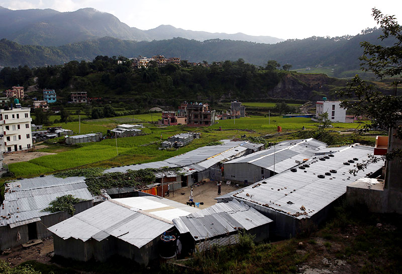 Shelters made of corrugated metal by the Rohingya refugees are pictured in Kathmandu, Nepal September 12, 2017. Photo: Reuters