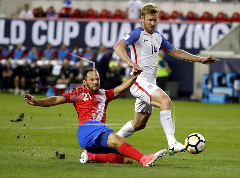 Costa Rica forward Marco Urena, left, scores as United States' Tim Ream defends during the first half of a World Cup qualifying soccer match, Friday, Sept. 1, 2017, in Harrison. Photo: AP