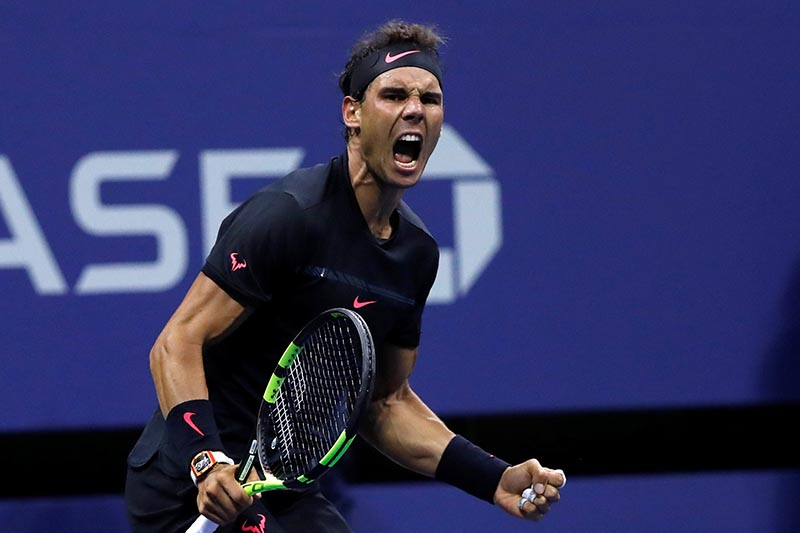 Rafael Nadal of Spain celebrates his win against Juan Martin del Potro of Argentina in US Open Semifinals, in New York, US, on September 8, 2017. Photo: Reuters