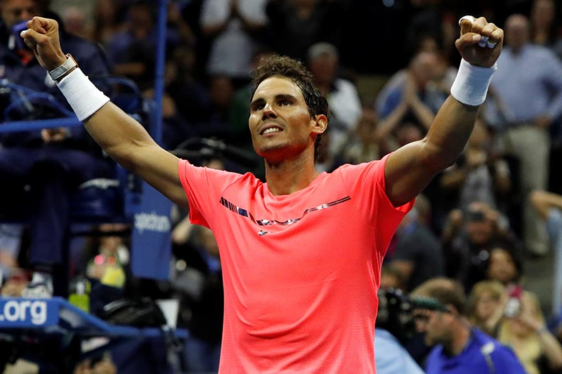 Rafael Nadal of Spain celebrates winning match point in his third round match against Leonardo Mayer of Argentina, in the US Open match, in New York, US, on September 2, 2017. Photo: Reuters