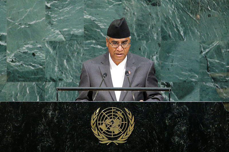 Nepali Prime Minister Sher Bahadur Deuba addresses the 72nd United Nations General Assembly at UN headquarters in New York, US, on September 23, 2017. Photo: Reuters