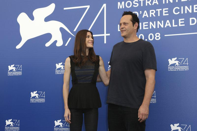 Actors Jennifer Carpenter, (left), and Vince Vaughn pose for photographers at the photo call for the film u2018Brawl In Cell Block 99 u2019 during the 74th edition of the Venice Film Festival in Venice, Italy, on Saturday, Sept. 2, 2017. Photo: AP