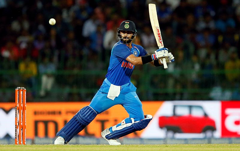 India's team captain Virat Kohli plays a shot. Photo: Reuters