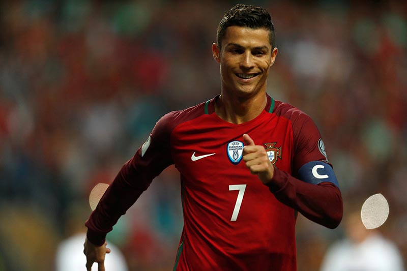 Portugal's Cristiano Ronaldo celebrates his second goal against Faroe Islands in World Cup 2018 Qualifiers match between Portugal and Faroe Islands, at Bessa Stadium, in Porto, Portugal, on August 31, 2017. Photo: Reuters