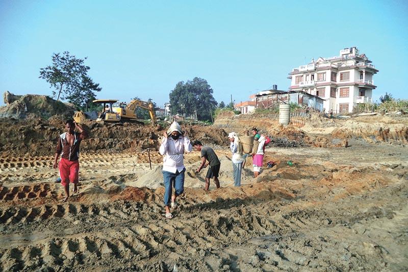 A farmland being levelled for sale in Kageshwori Manohara Municipality, Kathmandu, on Sunday, September 10, 2017. Photo: THT