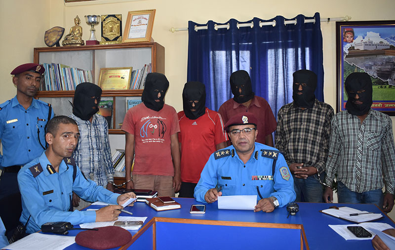 Six persons accused of rape and murder of a woman being made public by District Police Office in Dhulikhel, on Wednesday, September 6, 2017. Photo: RSS