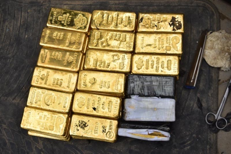 Gold bars confiscated from a parked car in Chhetrapati area of Kathmandu Metropolitan City-17, on September 4, 2017. Photo: MCD