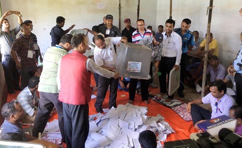 Election officials empty the ballot boxes to count votes in Birgunj, on Tuesday, September 19, 2017. Photo: Ram Sarraf/THT Online
