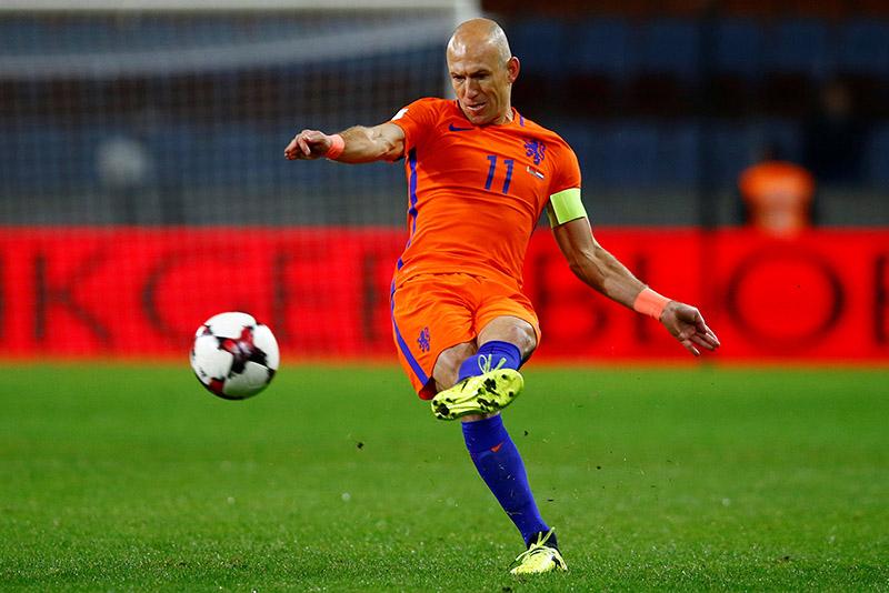 Netherlandsu2019 Arjen Robben in action. Photo: Reuters