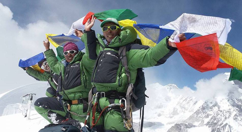 Climbers summit the Burke Khang, on Sunday, October 5, 2017. Photo: Asian Trekking