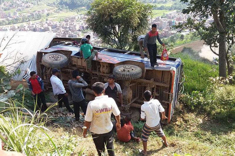 Locals trying to rescue the injured passengers. Photo: Keshav Adhikari