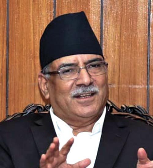 Interview with the CPN-MC Chair Pushpa Kamal Dahal at his residence in Lazimpat, Kathmandu, on Sunday, October 22, 2017. Photo: THT