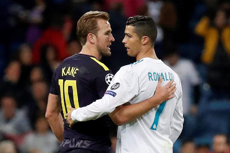 Real Madridu2019s Cristiano Ronaldo with Tottenham's Harry Kane after the Champions League match between Real Madrid and Tottenham Hotspur, at Santiago Bernaneu Stadium, in Madrid, Spain, on October 17, 2017. Photo: Reuters