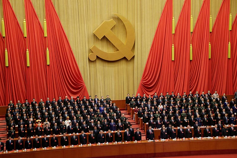 Chinese President Xi Jinping and delegates attend the closing session of the 19th National Congress of the Communist Party of China at the Great Hall of the People, in Beijing, China, on October 24, 2017. Photo: Reuters
