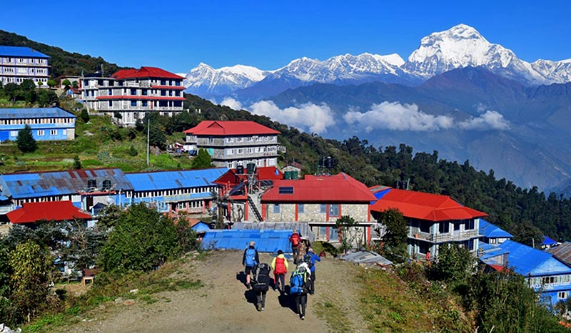 A view of Mount Dhaulagiri in the backdrop of Ghorepani village, a tourist destination in Annapurna Rural Municipality-6 of Myagdi district, on Friday, October 27, 2017. Photo: RSS