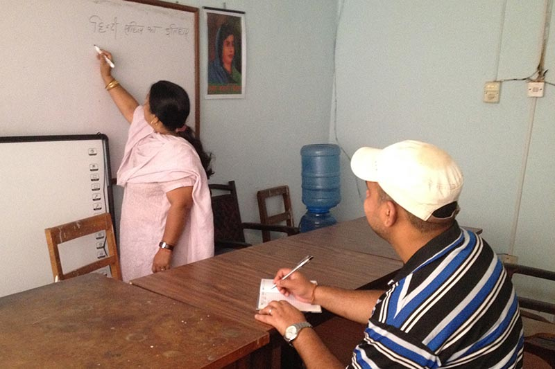 A professor taking Hindi class with a lone student in the classroom, at Tribhuvan  University, Kirtipur. Photo: THT