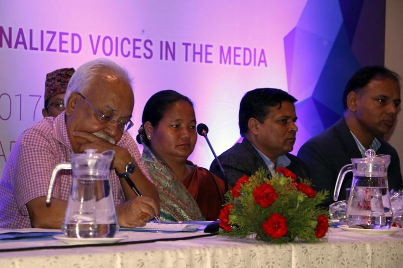 Speaker Onsari Gharti attending the International Media Conference, in Kathmandu, on Monday, October 9, 2017. Photo: RSS
