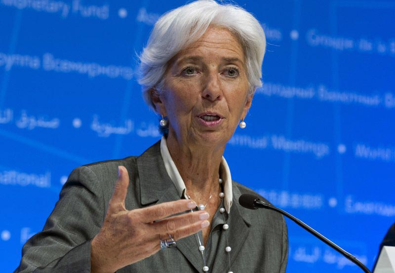 International Monetary Fund (IMF) Managing Director Christine Lagarde speaks during a news conference after the International Monetary and Financial Committee (IMFC) meeting at the World Bank/IMF Annual Meetings in Washington, on Saturday, October 14, 2017. Photo: AP