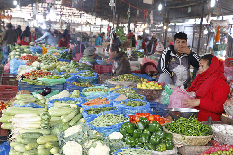 Vendors at the Kalimati Fruits and Vegetables Market await costumers, on Tuesday, October 31, 2017. Photo: RSS