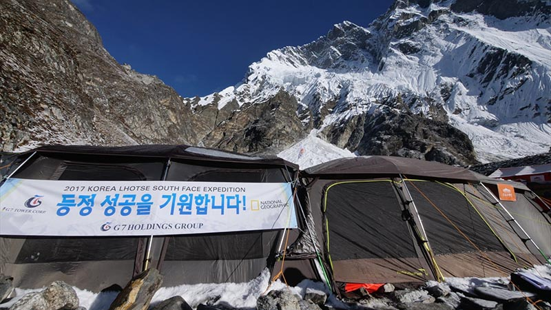 Tents pitched at Camp IV for the National Geographic explorer going on Lhotse South Face Expedition. Photo courtesy: Trekking Camp Nepal