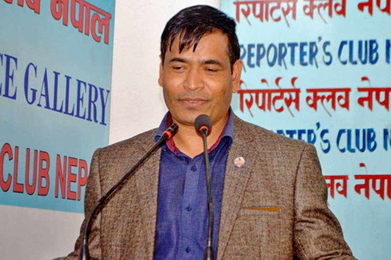 Minister without portfolio Mahendra Bahadur Shahi speaking at an interaction programme in Kathmandu, on Wednesday, October 18, 2017. Courtesy: Reporters Club