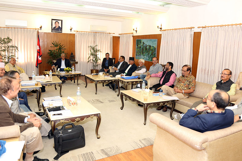 PM Sher Bahadur Deuba along with other leaders attend Nepali Congress Central Parliamentary Committee meeting in Baluwatar, Kathmandu, on Wednesday, October 25, 2017. Photo: RSS