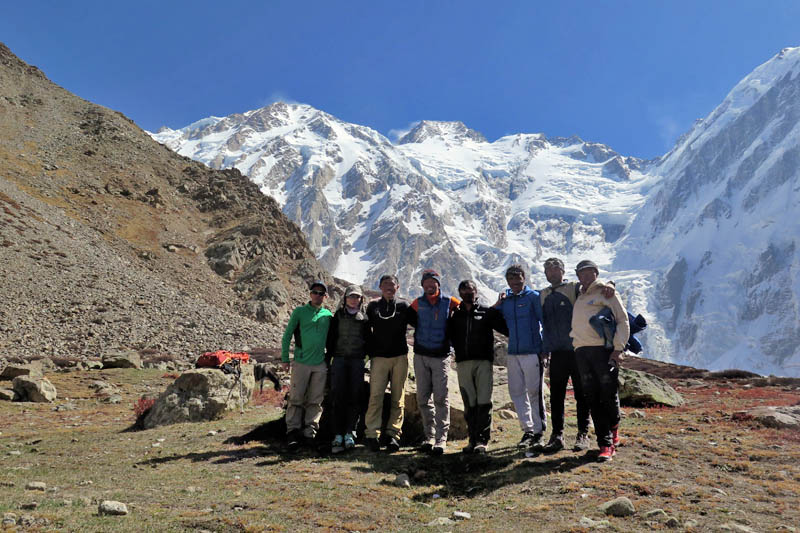 In this undated photo, climbers pose for a photograph at the base camp after summiting Nanga Parbat. Courtesy: Mingma G Sherpa