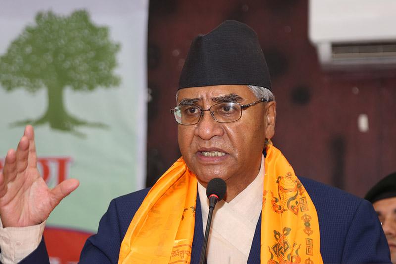 Deuba addressing a programme in Kathmandu, on Tuesday, October 17, 2017. Photo: RSS