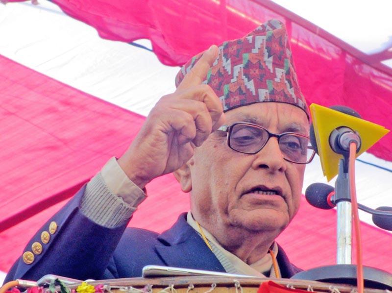 Rastriya Prajatantra Party Nepal leader Dr Prakash Chandra Lohani speaking at a programme in Kanchanpur district, on Sunday, January 1, 2017. Photo: RSS