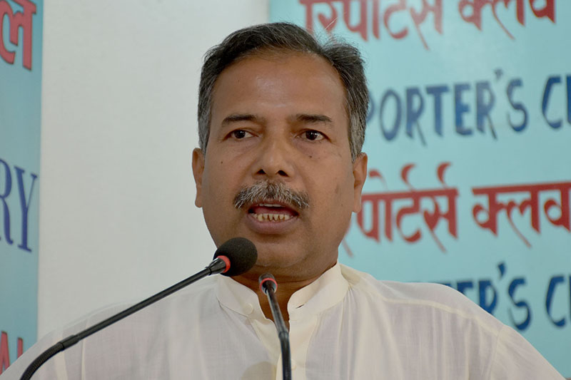 The General Secretary of Federal Socialist Forum Nepal Ram Sahaya Yadav speaks at an interaction programme in Kathmandu, on Monday, October 9, 2017. Courtesy: Reporters Club