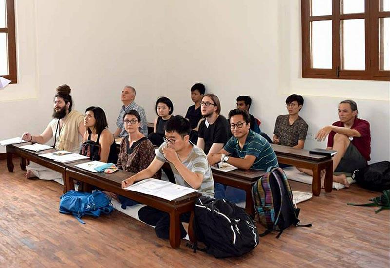 International students taking Sanskrit lessons at Rangung Yeshe Institute, a college affiliated to Kathmandu University, in Kathmandu, on Wednesday, October 25, 2017. Photo: THT
