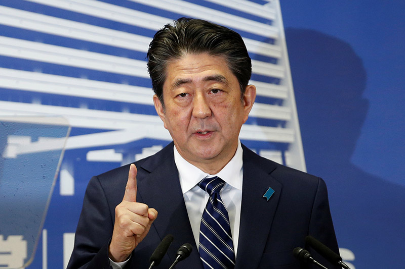 Japan's Prime Minister Shinzo Abe, who is also leader of the Liberal Democratic Party (LDP), attends a news conference at LDP headquarters in Tokyo, Japan October 23, 2017. Photo: Reuters
