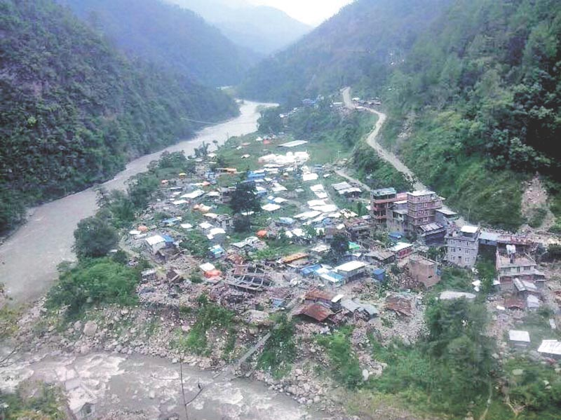 A view of Singati Bazaar, which is surrounded by the Tamakoshi and Singati rivers, in Dolakha, on Wednesday, October 11, 2017. Photo: THT
