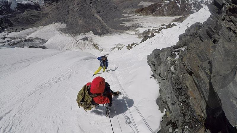 South Korean climber Sung Taek Hong (51) and record-holder Spanish climber Jorge Egocheaga Rodriguez at the Annapurna Base Camp III.  Photo courtesy: Trekking Camp Nepal