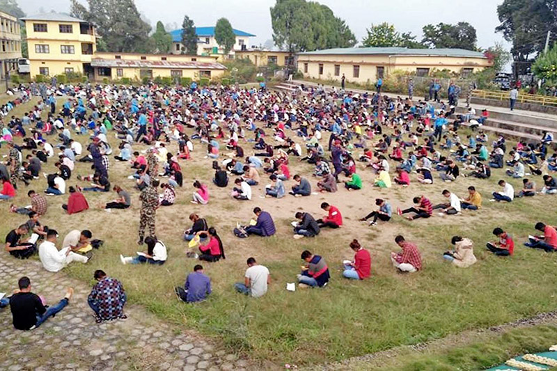 Temporary police aspirants, undergoing test exam for selection, for upcoming provincial and parliamentary elections, in Ilam district, on Tuesday, October 23, 2017. Photo: RSS