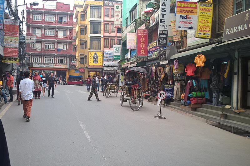 File - A view of Narsingh Chok, an intersection in Thamel, Kathmandu, on March 25, 2016. Photo: Suresh Chaudhary