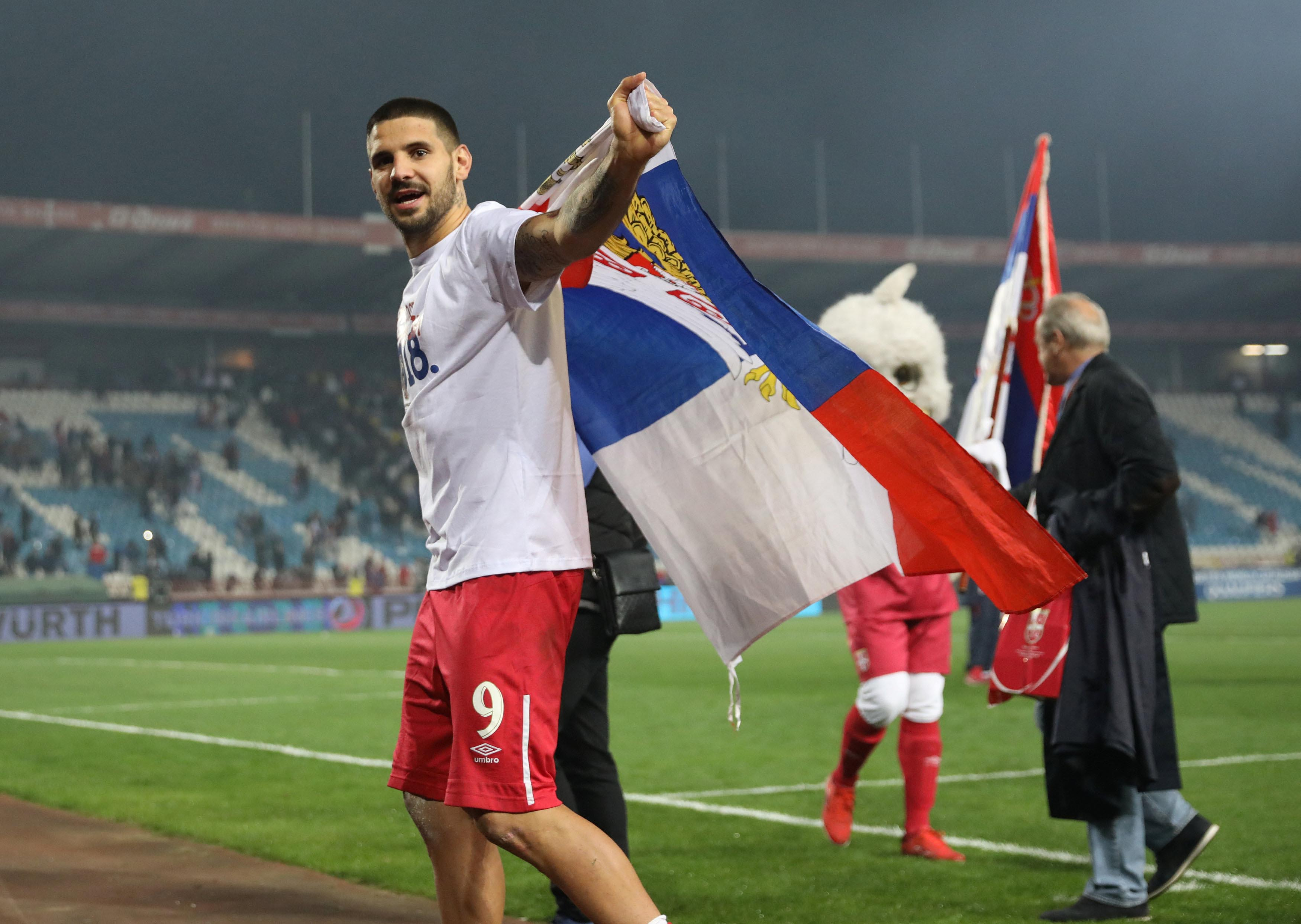 Serbiau2019s Aleksandar Mitrovic celebrates World Cup qualification after the2018 World Cup Europe Qualification match between Serbia and Georgia, at Rajko Mitic Stadium, in Belgrade, Serbia, on October 9, 2017. Photo: Reuters