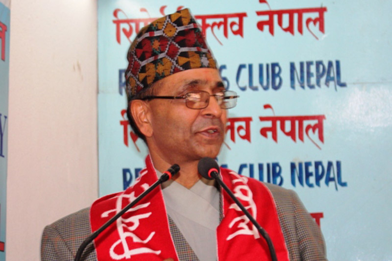 National Reconstruction Authority newly appointed Chief Executive Officer Yuvaraj Bhusal speaking at an interaction programme in Kathmandu, on Wednesday, October 25, 2017. Photo: RSS