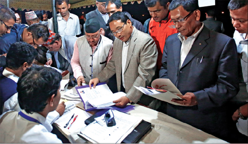 CPN-Maoist Centre leader Barsha Man Pun submitting the closed list of candidates under the Proportional nRepresentation electoral system at the Office of the Election Commission, in Katmandu, on Sunday. Photo: Skanda Gautam / THT