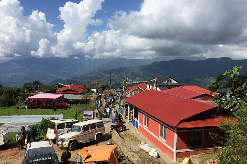 A view of the newly reconstructed settlement, which was damaged in the Gorkha earthquake, Lamjung, on Sunday, October 8, 2017. Photo: RSS
