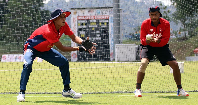 Nepalu2019s Kishor Mahato (left) and Kamal Singh take part in a training session in Kuala Lumpur on Thursday, ahead of their ACC U-19 Youth Asia Cup match against Afghanistan. Photo courtesy: NSJF