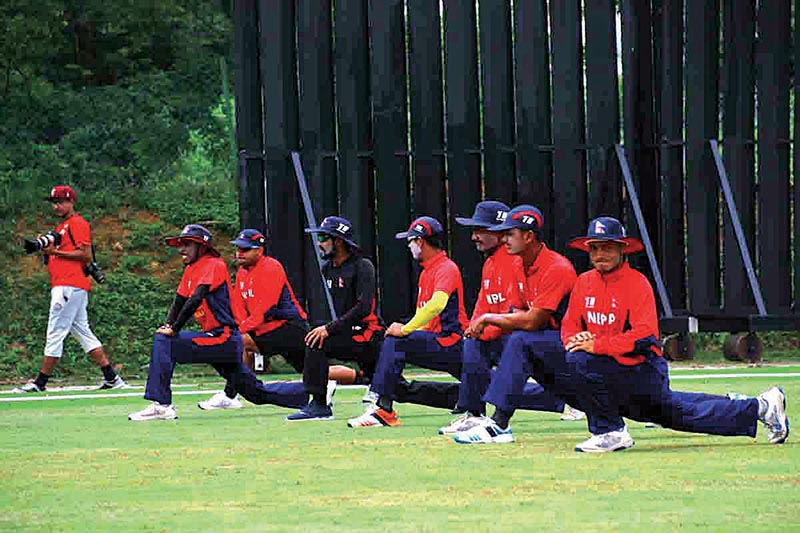 The file photo shows Nepali youth cricketers taking part in a team training session in Kuala Lumpur. Photo Courtesy: Raman Shiwakoti