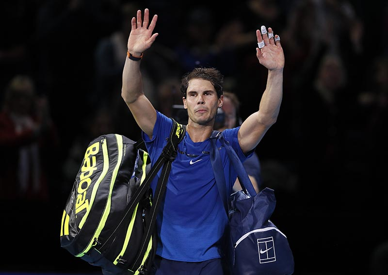 Rafael Nadal of Spain waves to supporters after losing his singles tennis match against David Goffin of Belgium at the ATP World Finals at the O2 Arena in London, on Monday, November 13, 2017. Photo: AP