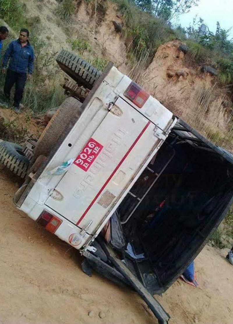 A vehicle used by Nepali Congress candidate Narayan Bahadur Karki in Udayapur-2, which was ambushed at Udayapurgadi Rural Municipality in Udayapur, on Wednesdaym November 29, 2017. Photo: THT