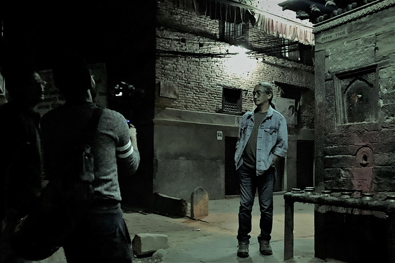 File: Nepathya's frontman Amrit Gurung shoots during a making of a video in Pata. Courtesy: Nepalaya