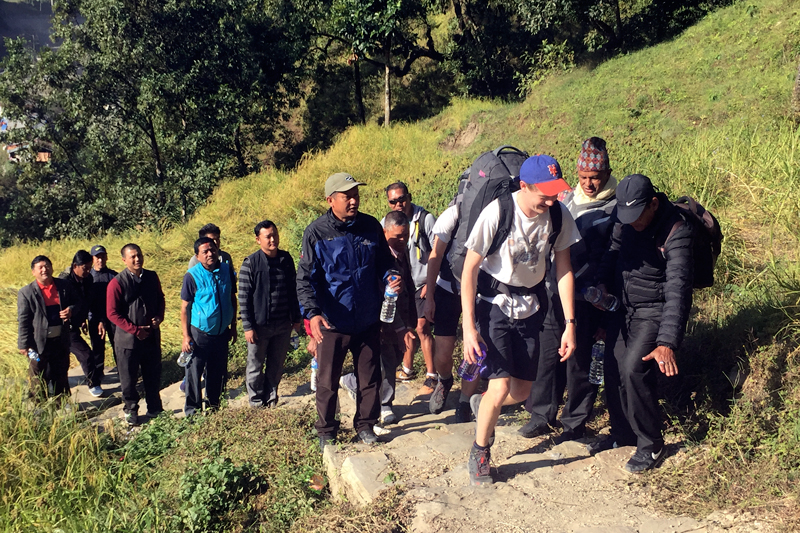 Tourists trek through the newly inaugurated alternative route in Manang, on Tuesday, November 7, 2017. Photo: RSS