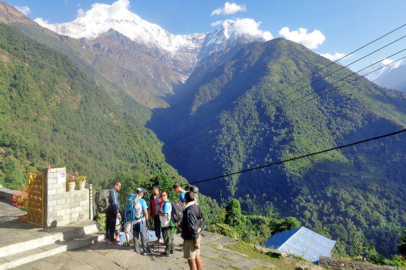 Domestic tourists at Annapurna trekking trail in Kaski district, on Monday, November 20, 2017. Photo: RSS