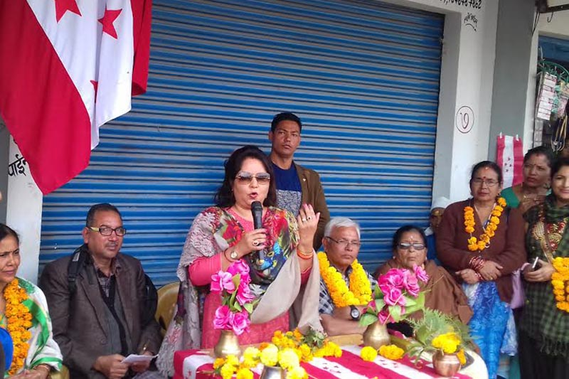 Nepali Congress  leader Arzu Deuba addressing an election gathering, in Dhangadi, on Friday, November 17, 2017. Photo:THT
